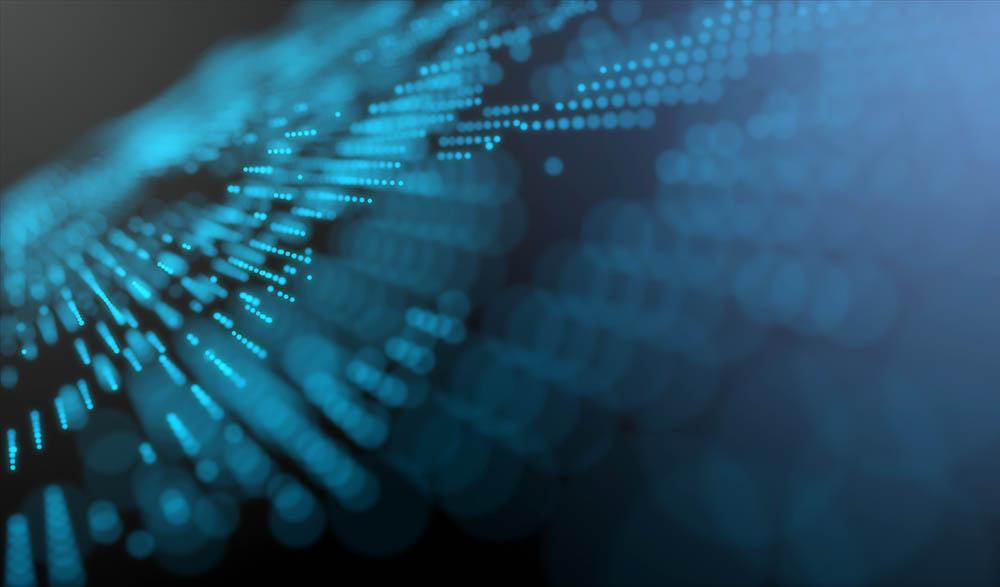 Blue futuristic stream Data Communication flying into digital technologic animation 3D rendering
